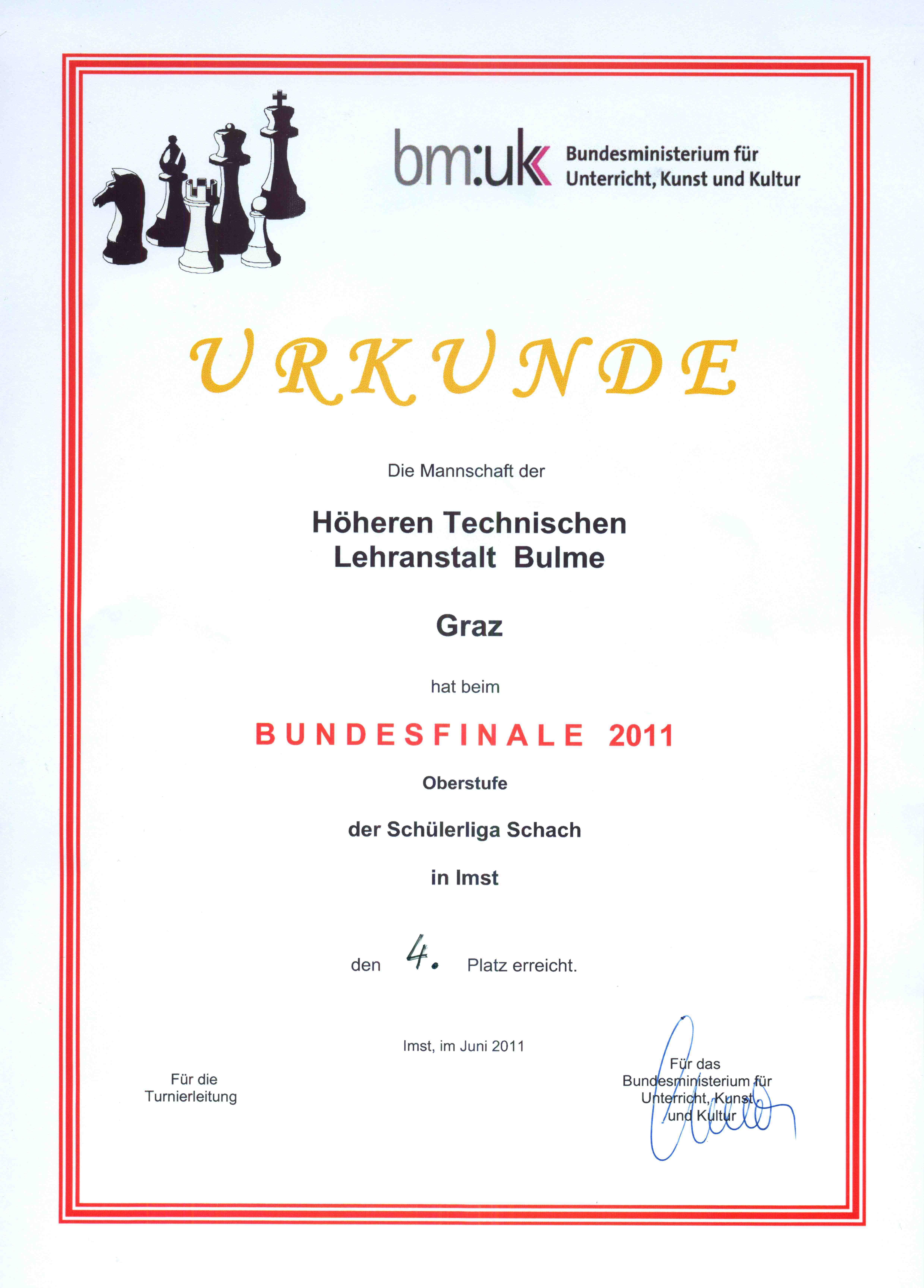 Urkunde Bundesfinale Schach